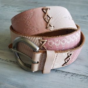 Fossil | Blush Pink Bohemian Tooled Leather Belt